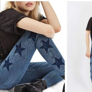 NWT Topshop Jamie Star Embroidered Skinny Jeans